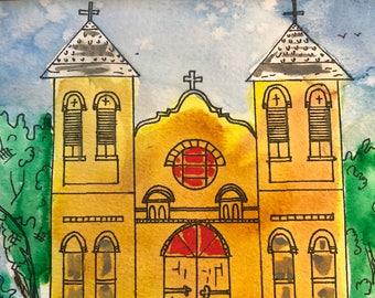 San Albino, Mesilla, NM Watercolor painting by artist Sandy Short  handpaintedgourds.com