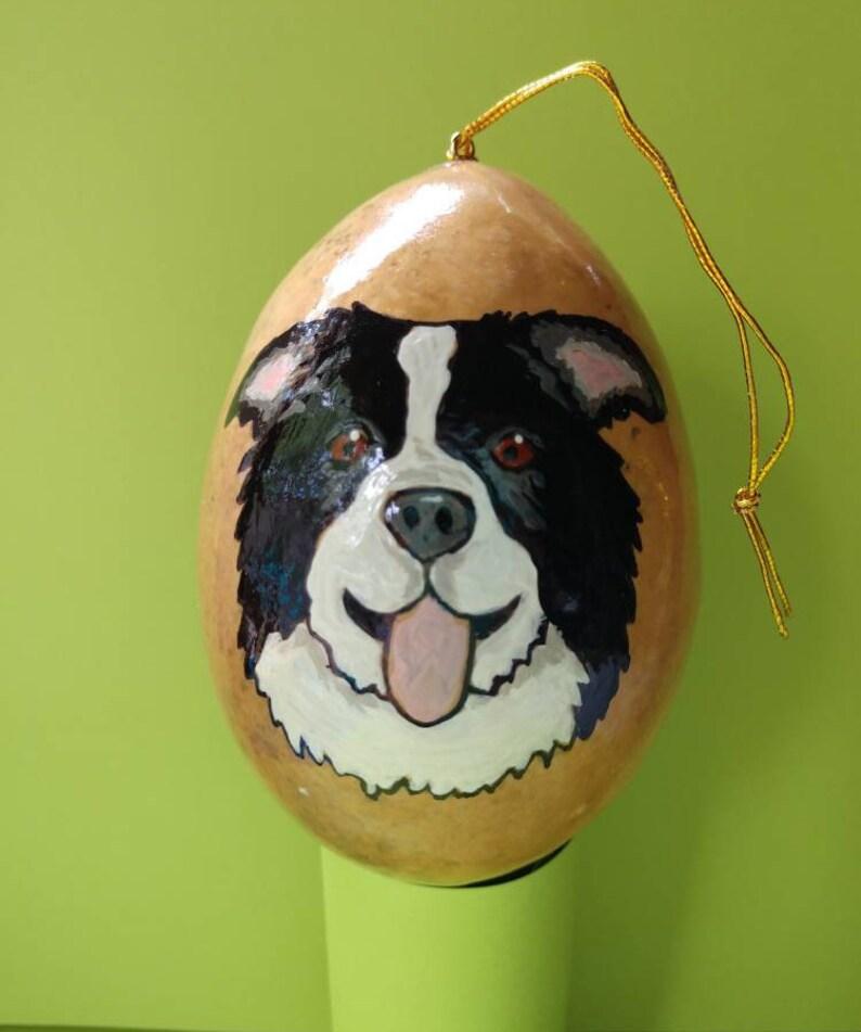 Border Collie Christmas Gourd Ornament Custom Option image 0