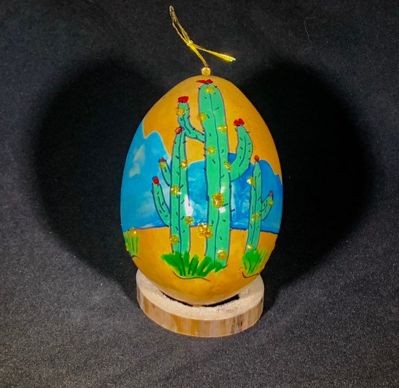 Saguaro with gold ornaments Hand painted gourd ornament image 0