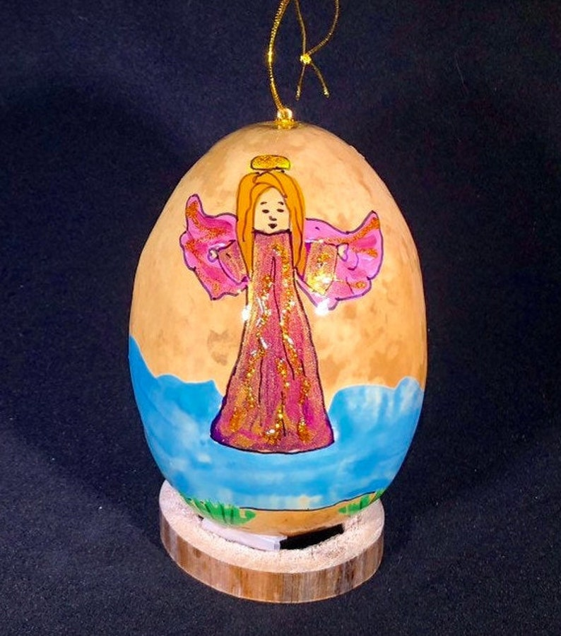 Pink angel. Hand-Painted Gourd Christmas Ornament by artist image 0