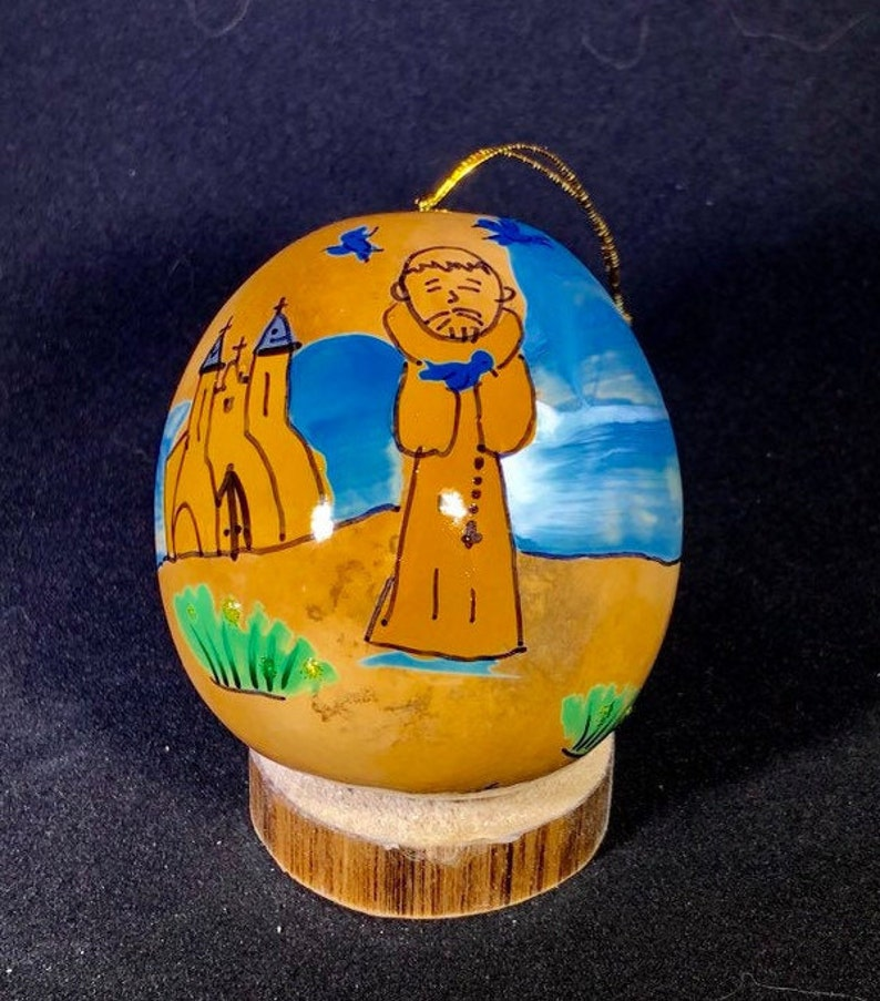 Saint Francis and birds ornament Handpainted Gourd Christmas image 0