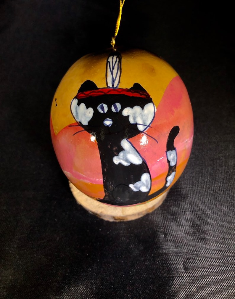 Black cat  Hand painted gourd ornament Gourd Christmas image 0