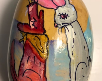 Coyote and Jack Rabbit  Hand Painted Gourd Christmas Ornament by Sandy Short   handpaintedgourds.com