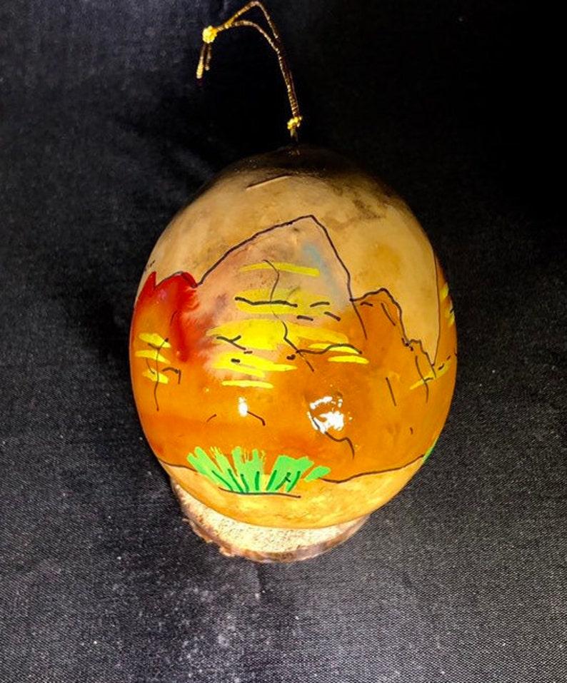 Badlands South Dakota. Hand-Painted Gourd Christmas Ornament image 0