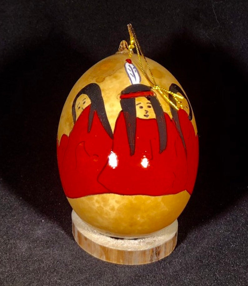 Red pow wow Handpainted Gourd Christmas Ornament by artist image 0