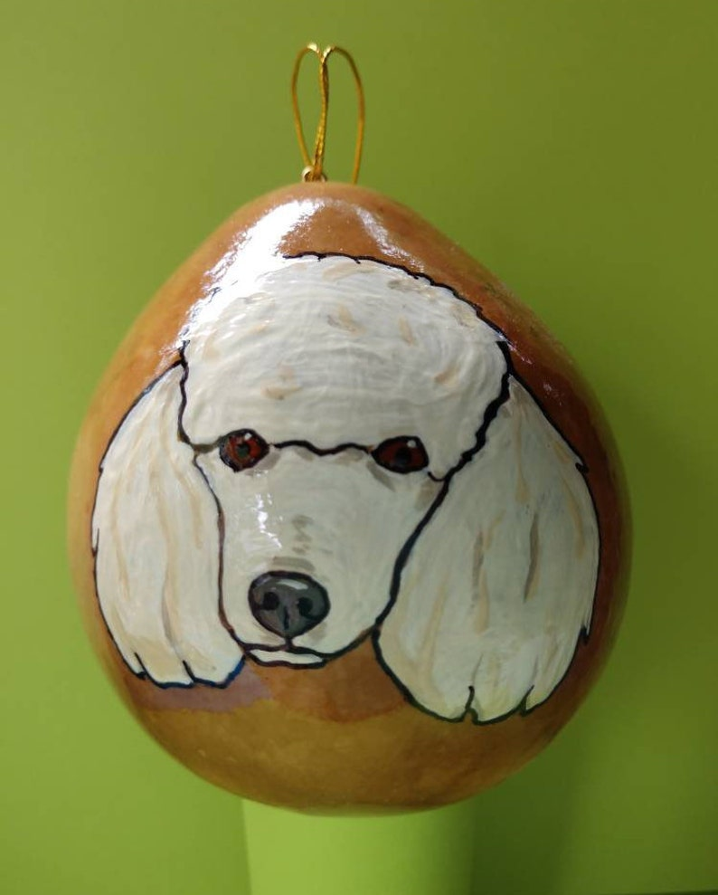 Poodle Christmas Gourd Ornament Custom Option Available by image 0
