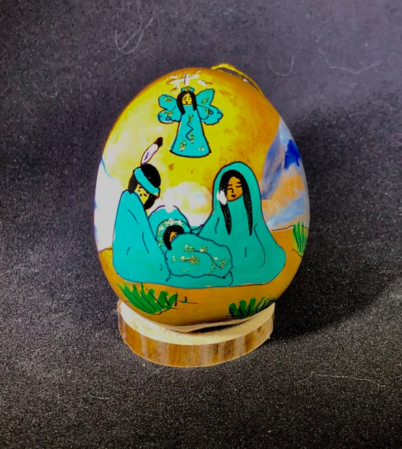Teal nativity. Hand-Painted Gourd Christmas Ornament by artist image 0