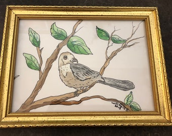 Sparrow Watercolor Painting by artist Sandy Short    handpaintedgourds.com
