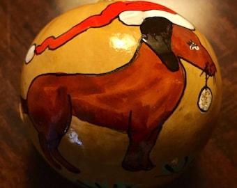 "Doxie Santa Hand-Painted Gourd Christmas Ornament by Sandy Short.  ""Dachshund Santa"" handpaintedgourds.com"