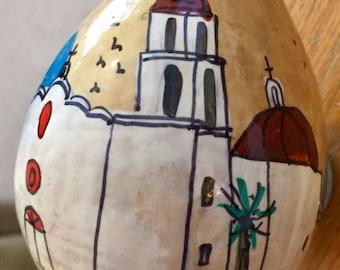 Mission San Juan Capistrano, Ca  Hand Painted Gourd Christmas Ornament by Sandy Short     handpaintedgourds.com