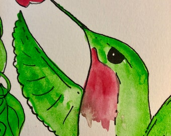 Watercolor painting by artist Sandy Short Ruby throated hummingbird with pink flower.  handpaintedgourds.com