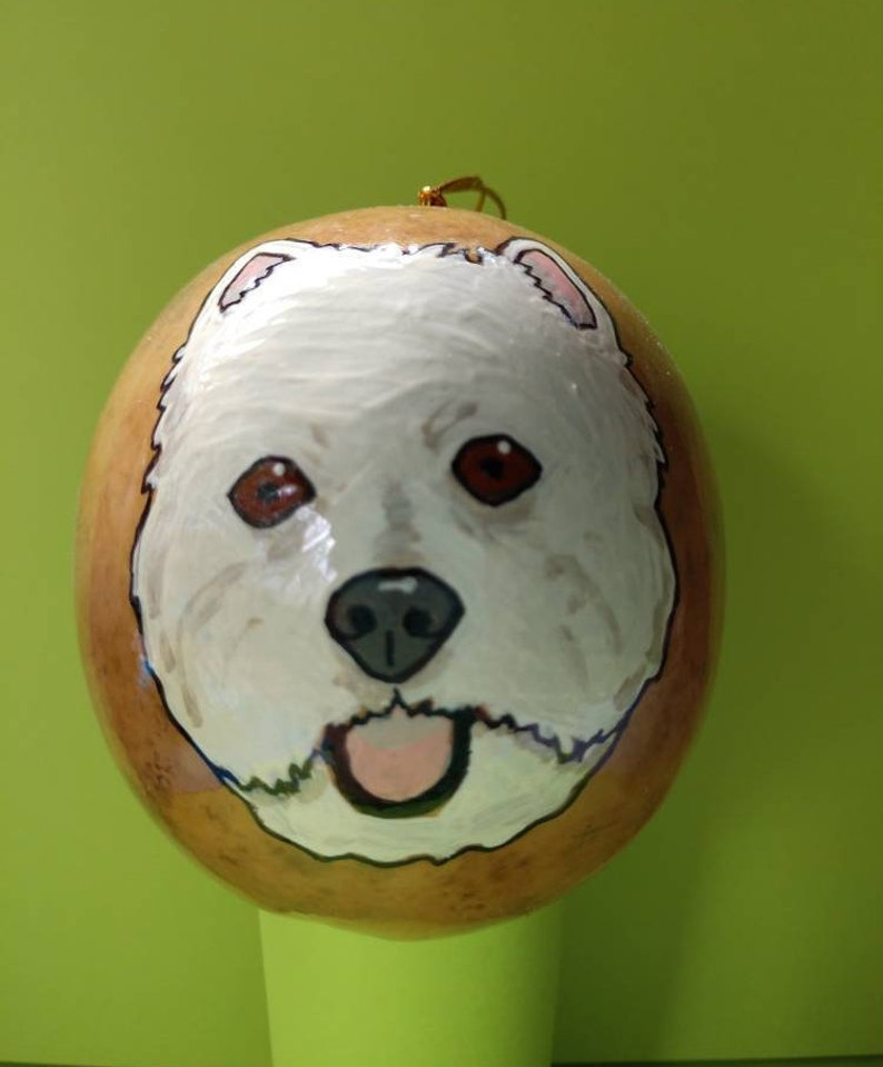 Westie Christmas Gourd Ornament Custom Option Available by image 0