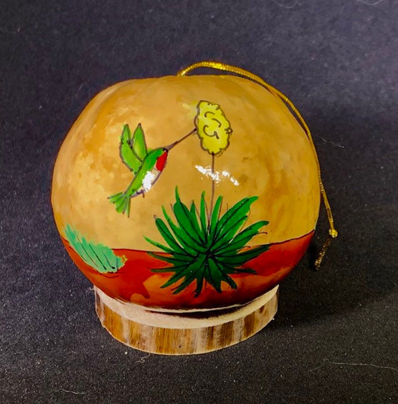 Hummingbird and yucca Handpainted Gourd Christmas Ornament by image 0