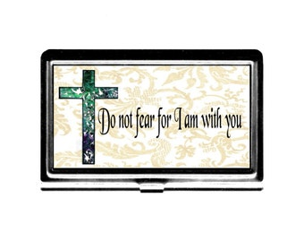 Cross Religious Quote Do not fear Business Card Case Credit Card Holder metal card case metal wallet Christian motivational green gold