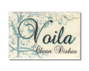 Clean Dirty Dishwasher Magnet Flip Sign French Voila Deja vu turquoise shabby Wife Gift hostess