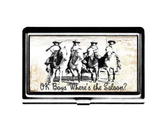 Ok Boys Wheres the Saloon vintage Cowgirls Business Card Case Credit Card Holder stainless steel card case wallet retro vintage western