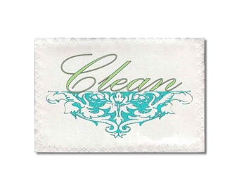 Clean Dirty Dishwasher Magnet Victorian Turquoise Green Mini Flip Sign shabby french market cottage Wife Gift