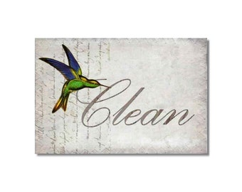 Clean Dirty Dishwasher Magnet Hummingbirds Collage Mini Flip Sign shabby french market cottage birds Wife Gift