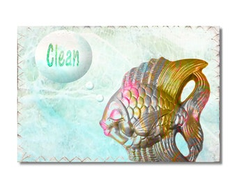 Clean Dirty Dishwasher Magnet Kitschy Goldfish Mini Flip Sign Fish Wife Gift hostess