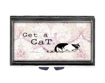 Get a CAts Pill Case with Mirror pill box 3 day sections Cute cat saying adopt a cat rescue pets