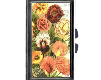 Vintage Flower Seed ad Pill Case with Mirror pill box 3 day sections  shabby cottage chic shabby wife gift gardeners gift