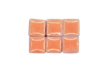 1 oz - 5 mm size Juicy Peach Ceramic Mosaic Tiles - approximately 190 - 200 tiles