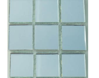15 - 1 inch SILVER MIRROR Square Glass Mosaic Tiles