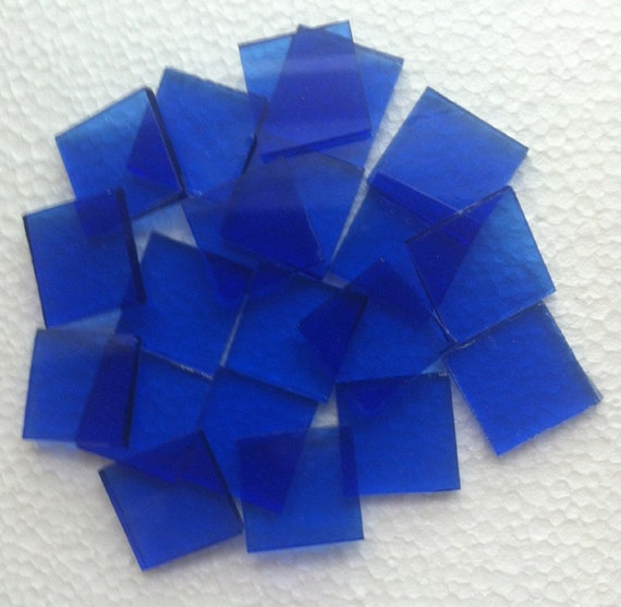 25 tiles 3//4 inch  Spectrum Pale Blue White Stained Glass Mosaic Tiles
