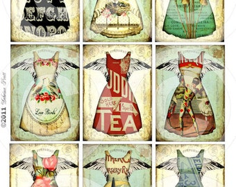 DIGITAL COLLAGE SHEET - printable download - TaTTeReD DReSS CoLLeCTioN