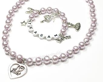 Ballett Tanz Schmuck Tanz Charm Armband Ballett Charme personalisierte Perle Name Schmuck Name Armband Halskette set Geschenk für einen Tänzer