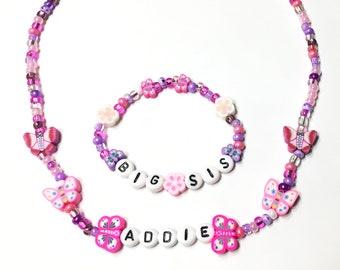 Große Schwester Geschenk Schmetterlinge und Blumen, personalisierte Namenshalskette und Armband Schmuck Set große Schwester Geschenk, Krankenhaus, Schmuck für Kinder