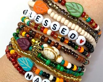 Autumn Boho Style stacking seed bead bracelets with leaves or turtle. Personalized Fall bracelets for girls and women. Gifts for girls.