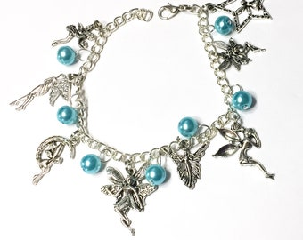 Fairy charm bracelet 8 fairies and you choose pearl color Fairy Sprite Nymph Pixie Adjustable Customizable Children through Adult Sizes