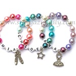 Dance Recital Gift personalized Pearl ballet charm bracelet. Little Girl dance jewelry. Your choose the name, color, & charm. Ballet Gift