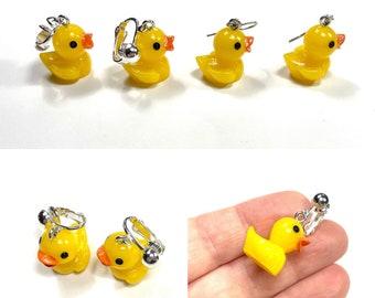 Little duck earrings,long earrings,kiln fired enanel