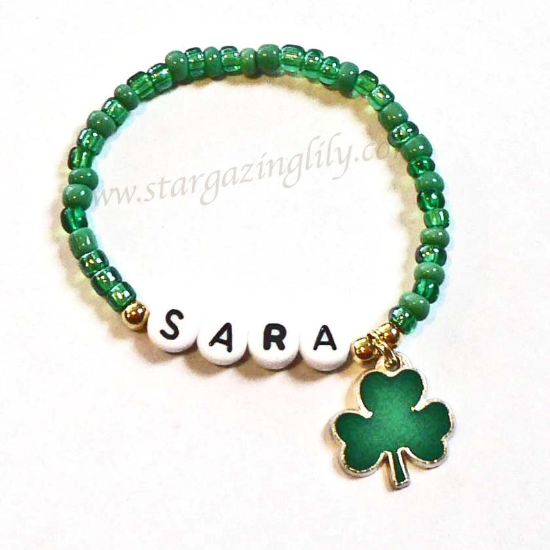 Patrick/'s Day Jewelry Personalized Name Bracelet Shamrock with 4 leaf clover Charm Party Favor Infant Children Kid Adult Sizes St