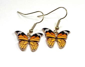 Monarch butterfly earrings. Available as clip on or hooks. Butterfly gift for her, gift for monarch mom, butterfly mom, raiser, gardener