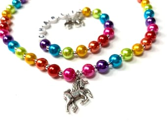 Kids Rainbow Unicorn Personalized Name Necklace & Bracelet Set Little Girls Jewelry. YOU CHOOSE pearl color, charm. Children's Jewelry