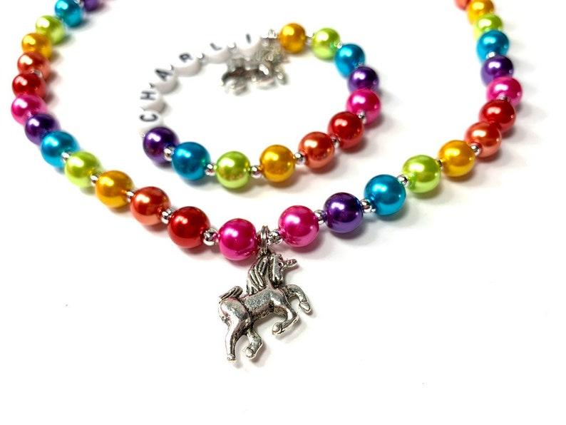 Kids Rainbow Unicorn Personalized Name Necklace & Bracelet Set image 0