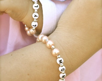 BEST SELLER - Mother Daughter Set of Personalized Name Bracelets Mother's Day Gift, Baby Shower Gift, Mommy & Me, Back to School