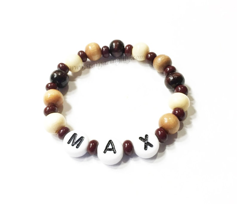 Wood Beaded Baby ID Personalized Name Bracelets for BOYS image 0