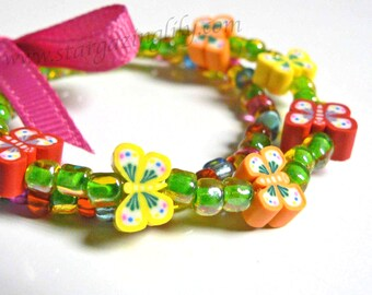 Chasing Butterflies in the Grass Girls Butterfly Beaded Bracelets Red Orange Yellow & Green Bright and Pink Bow Easter Basket Fillers