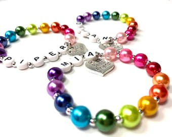 One Rainbow Best Friend Children's Charm Bracelets Order 1 for each friend. Kid Toddler Teen Adult Sizes Graduation Gift for you BFF