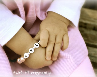 Newborn Baby Infant Toddler Name Bracelet You choose the pearl color and charm Pink Pearl Princess Crown Charm Bracelet