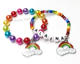 Rainbow Party Favor. Personalized Rainbow Bracelet. Rainbow Name bracelet. Enameled Rainbow Charm Bracelet with Name.