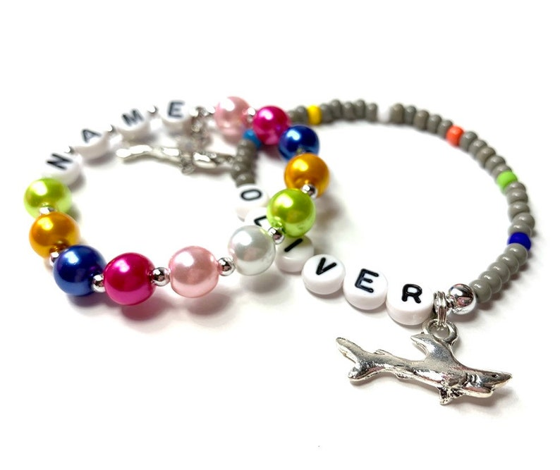 Shark Party Favor Charm bracelet. Boys & Girls Personalized image 0