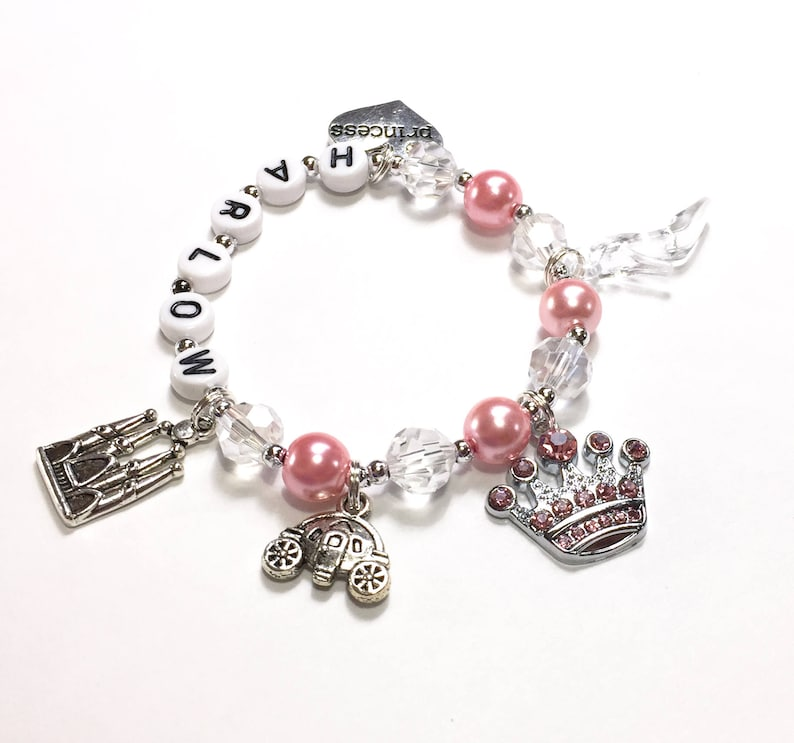3e53117afcf66 Princess Charm Bracelet. Princess Jewelry Personalized Name Bracelet Pink  Pearl Bracelet Little Girl Princess Jewelry YOU CHOOSE pearl color