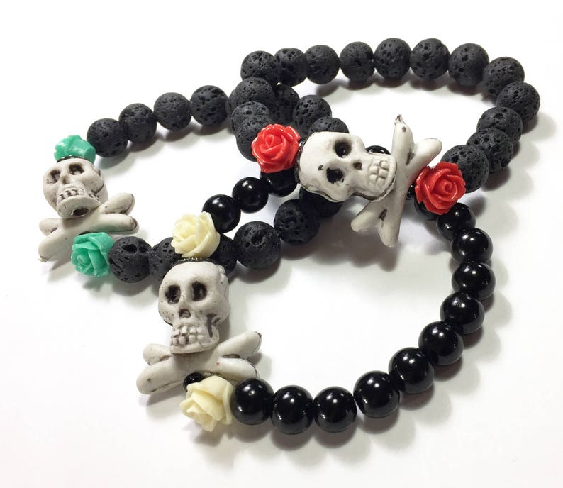 Skull and Cross Bones Diffuser Bracelet with red roses. Made image 0