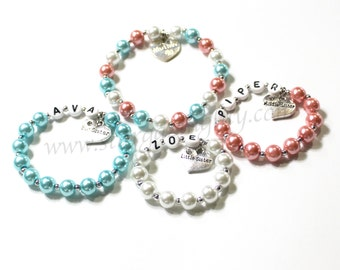 Mom and her girls Personalized customized bracelets for Mother Big Sister Middle Sister & Little Sister ONE BRACELET big sister gift