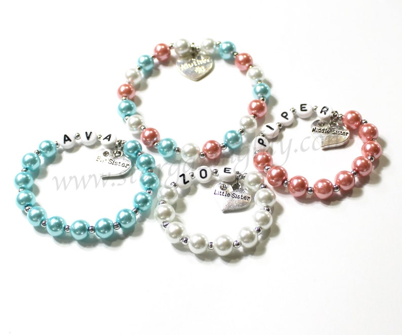 Mom and her girls Personalized customized bracelets for Mother image 0